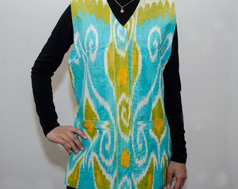women's ikat vest, jacket, SALE price, turquoise, green, ikat, vest, dress, garment, wear, apparel, clothes, clothing from SilkWay