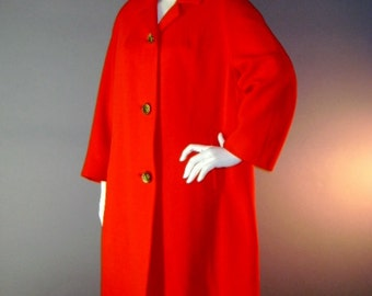 1960s coat 60s CHERRY RED true red wool seamed great swirl buttons coat