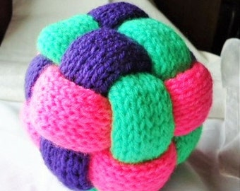 Braid ball in lime green, hot pink and purple