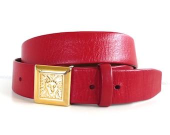 Vintage Red Leather Anne Klein for Calderon Gold Lion Belt