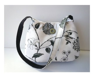 Floral Purse/ Fall Purse/ Black white fabric/ upholstery fabric/ small shoulder bag/ gardener gift/ vegan purse/ handmade/Item #CJF77-1010