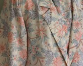 FREE SHIPPING Vintage Floral Print Pink Ship n Shore Blouse Skirt and Blazer 3 Piece Suit      sz 6