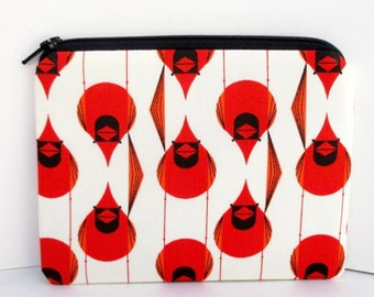 Small Zippered Pouch, Bird Coin Purse, Charley Harper Red Cardinals