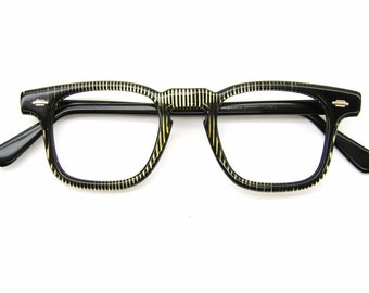 Vintage 50s Green Stripped Horn Rim Eyeglasses Eyewear Frame