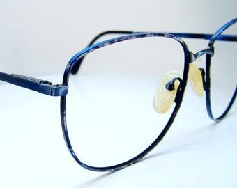 Vintage 70s Blue Big Lens Eyeglasses Eyewear Frames NOS Frame Italy