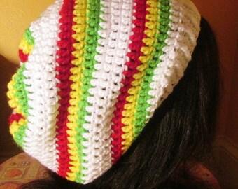 CLEARANCE White rasta jamaican hippie slouch beanie tam hat