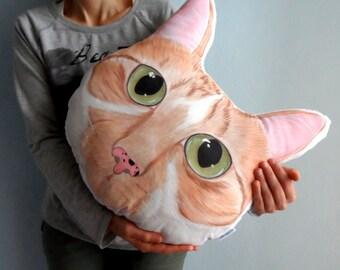 Custom Pet Portrait  Plush Pillow -XL SIZE , Personalized  gift for pet lovers, cat portrait, dog portrait