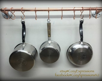 handcrafted hanging copper pot and pan rack kitchen storage copper kitchen ceiling mount pan