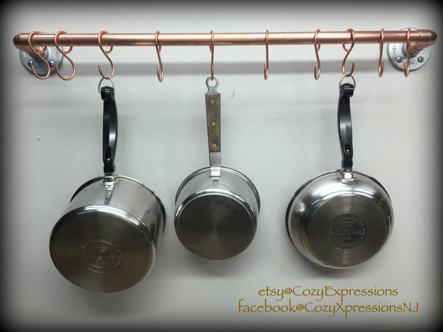 Handcrafted Hanging Copper Pot and Pan Rack Kitchen Storage