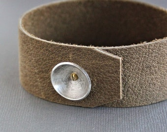 CLEARANCE Mens Suede Cuff Leather Silver Bracelet Light Brown