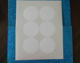 "8 Sheets 2-7/8"" Round White Labels. 8 Sheets Round Stickers Blank 2-7/8"". 4837"