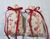 """Ivory 3""""X2"""" Sachet-'Elegant Diva' Fragrance-Red Floral Sachet-Burgundy Sachet-Burgundy Ribbon-Cotton Fabric Herbal Sachet-Cindy's Loft-045"""