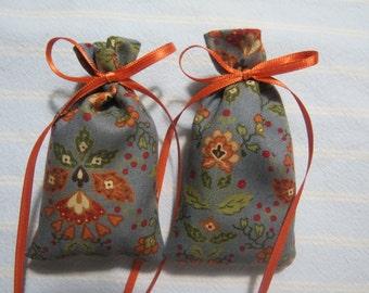 "Chambray Blue 3""X2"" Sachet-'Country Cupboard' Fragrance-Terra Cotta Kitchen Sachet-Terra Cotta Ribbon-Cotton Herbal Sachet-Cindy's Loft-016"