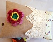 SALE....SALE....SALE A Scented Cushion Trimmed with a Pretty Crochet Flower and Lace Panel