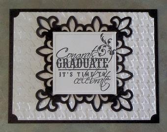 """Handmade Graduation Card - 4.25"""" x 5.5"""" - Die Cut Fleur de Lis Congrats You Choose Colors - Embossed Background"""