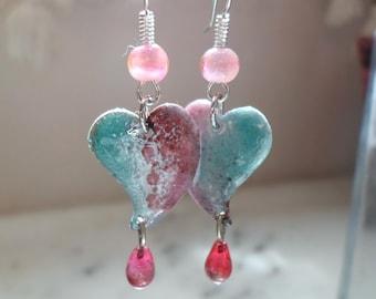 Enamel Brass Earrings, Glass Lampwork Earrings, Handmade Heart Earrings, Pastel Handmade Glass Jewelry for Valentine's Day