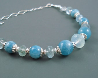 Aquamarine Necklace, Natural Aquamarine Round Beads and Rondelles with Sterling Silver Chain