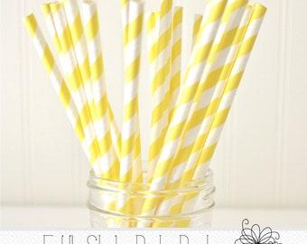 Bright Yellow Paper Straws- Pack of 25 Straws