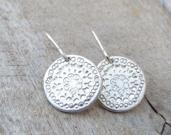 Silver Disc Earrings, Sterling Silver Earring, Simple Silver Dangle Earrings, Small Silver Earings, Silver Earrings Dangle