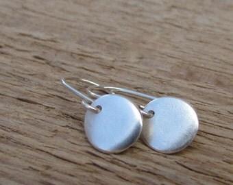 Organic Shape Earrings, Simple Dangle Earrings, Silver Circle Earrings, Sterling Silver Dangle, Modern Jewelry, Drop Silver Eearrings