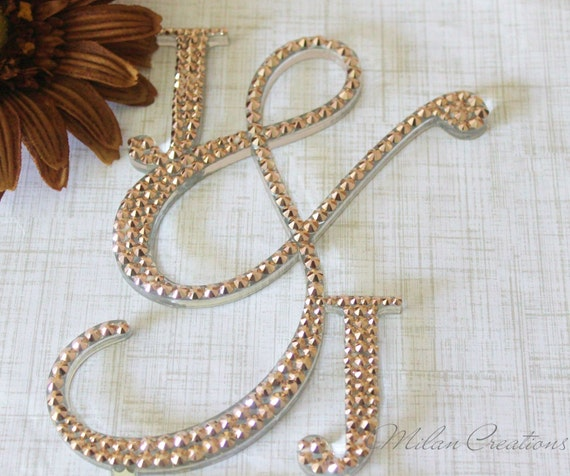 rose gold monogram wedding cake topper gold crystallized initial cake topper with by 19280
