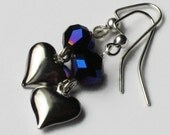 Purple & Silver Heart Earrings, Gifts for Women Mom Wife Sister Daughter Grandma Under 20, Valentines Jewelry, Stocking Stuffers