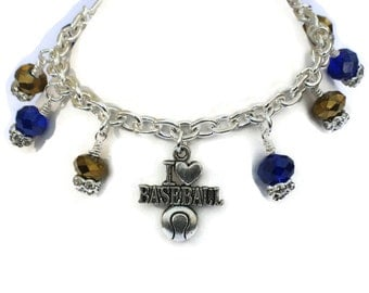 Milwaukee Brewers Inspired Charm Bracelet, New Colors, Gifts for Women Mom Wife Sister Daughter Grandma Teacher Under 25, Stocking Stuffers
