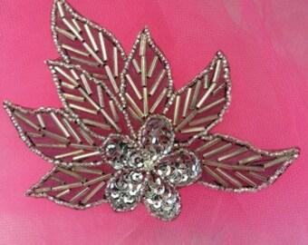 """FS1020 Silver Black Backing Floral Sequin Beaded Applique 4"""" (FS1020-SLBK)"""