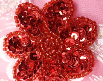 """JB175 Red Beaded Sequin Applique Flower Patch 2"""" (JB175-RD)"""