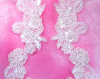 "0183 Aurora Borealis Crystal AB Mirror Pair Sequin Beaded Appliques Floral Vine 10"" (0183X-cab)"