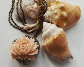 3D Peach Rose Necklace, Peach Rose Long Sweater Necklace, Cabochon Rose, Flower Necklace