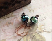 Metallic Green Dangle Earrings with Copper Earwires Gift for Her Daytime Earrings