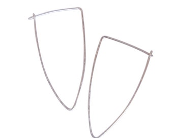 Textured Longline Sterling Silver or Gold Fill Hoops
