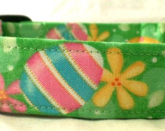 Let's Dye Some Easter Eggs on Green with Flowers Dog Collar