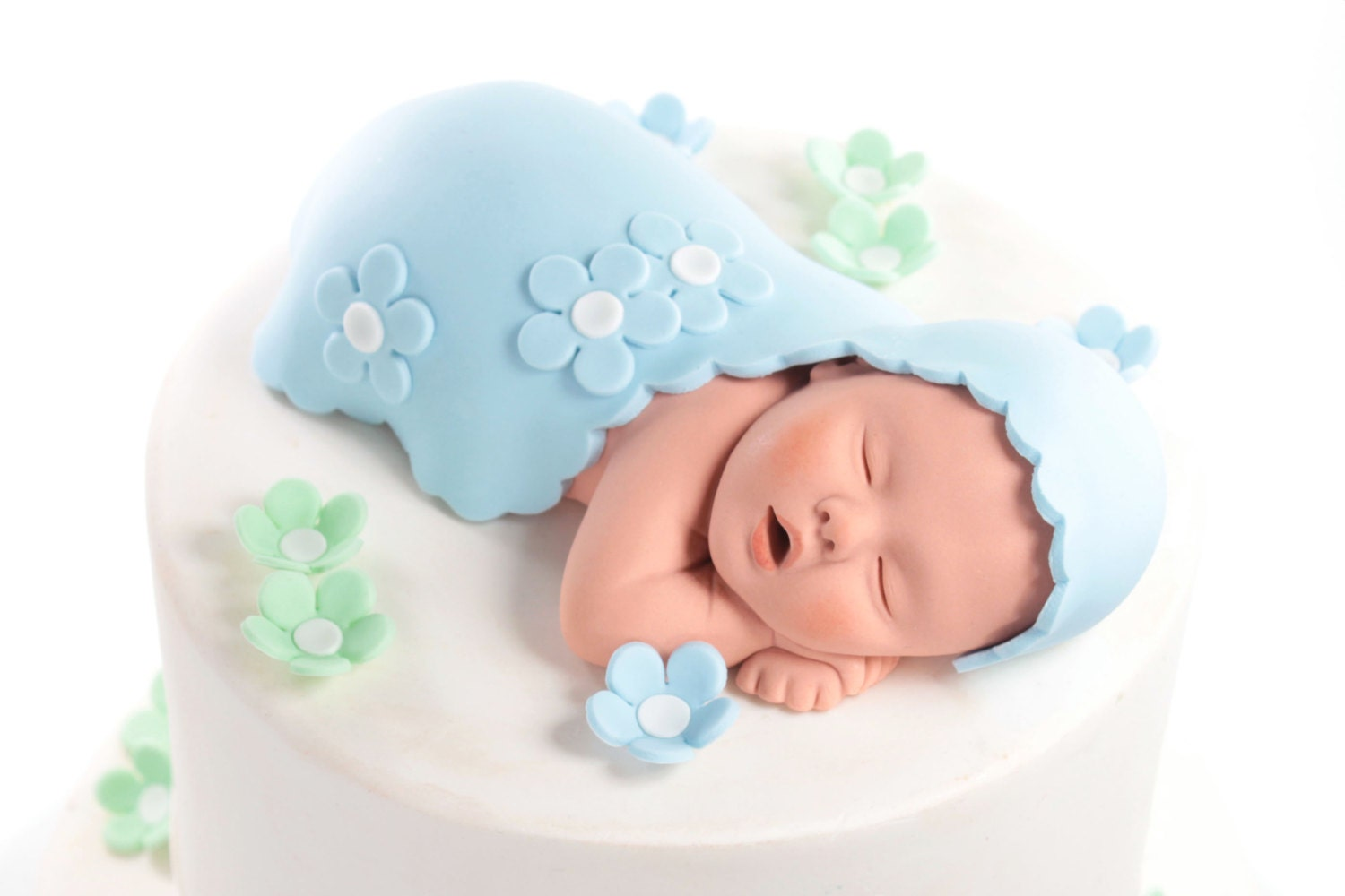 Baby Cake Topper Boy with Baby Blue Blanket and by ...
