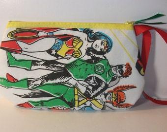Super Friends   Wristlet / Pouch -- Handmade  1976 DC Comic Flash Wonder Woman Posion Ivy Penguin