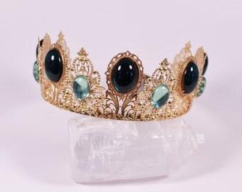 CUSTOM Gold Finish Renaissance Medieval Game of Thrones Tudor Fantasy Filigree Tiara Crown