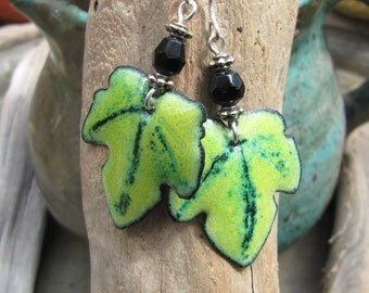 Spring Green Enamel Earrings