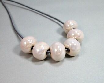 Round greek ceramic beads, enamel beads, off white, 12mm - 8 pieces