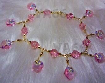 Pink Rose 14k Gold Swarovski Crystal Charm Bracelet Helix n Love Choose Cols Custom Made Bridesmaids, bridal, prom, birthday gift 925 silver