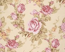 Rustic Blush Fabric by Verna Mosquera Antique Rose Roses Floral Flowers on Linen Ivory