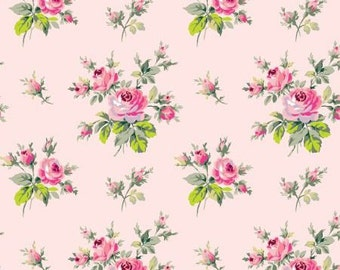 Grace Fabric by Anna Griffin Bouquet Floral Flowers Small Rose Roses Bunches on Light Pink