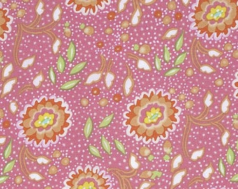 Chinoiserie Chic Fabric by Dena Designs 198 Jasmine Tossed Yellow Floral Flowers with Polka Dots on Pink