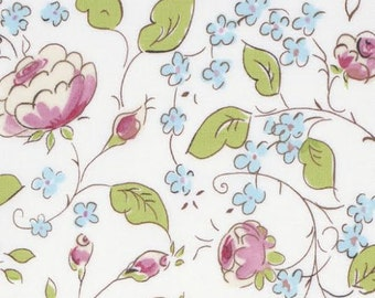 Chinoiserie Chic Fabric by Dena Designs 199 Chinois Rose Tossed Pink and Blue Floral Flowers on White