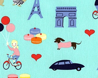 French Lessons Fabric by Dear Stella Paris Eiffel Tower Arch De Triomphe French Flags on Mint Green