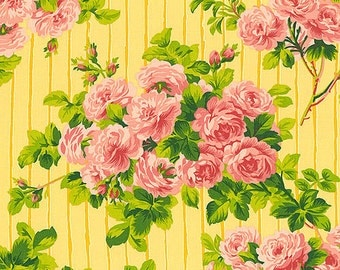 Glorious Garden Fabric by April Cornell Roses on Stripe Stripes Pink Bouquet Floral Flowers on Yellow