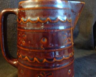 Large Stoneware Pitcher Brown Daisy Dot Marcrest Antique Country Primitive