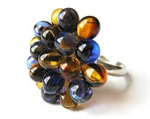Amber and Cobalt Berry Cluster Ring - Limited Edition - Honey and Indigo Cocktail Ring, Deep Yellow & Marine Glass Bubbly Ring, Gift