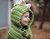 Dinosaur or Dragon Hooded Cowl, Cowl, Dragon, Hood, Dino, Knit Cowl, Button Cowl