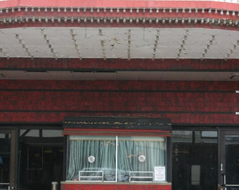 Chicago Photo, The Portage Theater, Chicago Photography, movies, film, vintage theatre, ticket window, ticket booth, art, red, pink, black